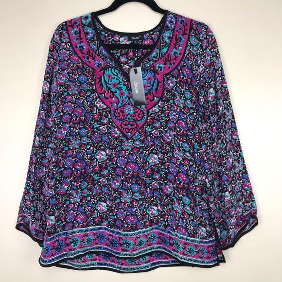 f4a739fe5e850 Tolani Black Purple V Neck Floral Silk Blouse